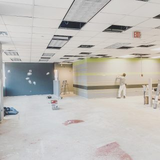 Paint is up at one of our new Chiro One locations! . . #accentwall #paint #chiropractic #wellnesscenter #renovation #buildout #interiorrenovation #remodel #chicagorehab #commercialconstruction  #constructionsite