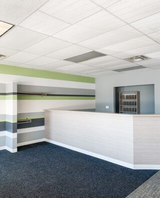 Chiro One Wellness Centers is a leader in Chiropractic care, with locations throughout the United States. We are happy to have them as a long time, repeat client, who we greatly enjoy working with. This striped wall & wallpaper on the reception desk are both design choices that you can see at all locations!⁠ .⁠ .⁠ #chiropracticcare #chiroone #chiroonewellnesscenters #healthandwellness #wellnesscenter #oakbrook #generalcontractor #carpettile #walkofftile #stripedwall #accentwall #paint #wallpaper #commercialspace #retailspace #chicagoconstruction #buildout